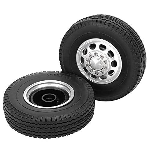 2 Piezas de aleación de Aluminio de 10 Agujeros con Cubierta de neumático Delantero para camión Tamiya 1/14 Parte RC