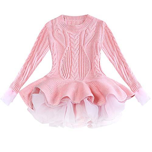 K-Youth Navidad Fiesta Vestido Bebe Niña Ropa Chica Suéter de Punto Vestido de Fiesta Niña Vestidos para Ninas Ceremonia Tutú Princesa Fiesta Largos Vestido Niña Invierno (Rosa 2, 2-3 años)