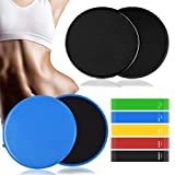 Core Sliders,4Pcs Exercise Sliders Fitness Discs and 5 Resistance Bands, Dual Sided Exercise Gliding Discs Use on Carpet or Hardwood Floors,Slides Discs Perfect for Abdominal &Core Workouts