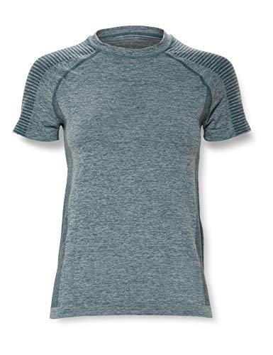Amazon-Marke: AURIQUE Damen Nahtloses Sport T-Shirt, Grün (Waldnacht), 36, Label:S