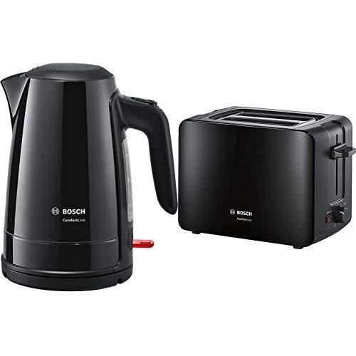 Bosch TWK6A013 Wasserkocher ComfortLine, 1-Tassen-Funktion, Dampfstopp-Automatik, entnehmen Kalkfilter, 2400 W, schwarz & TAT6A113 Kompakt-Toaster ComfortLine,1090 W, schwarz