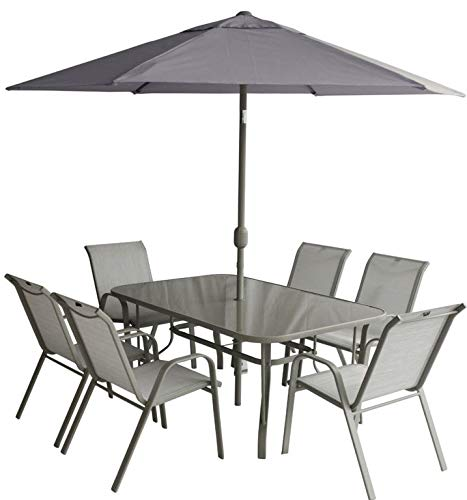 PAGODA Dining Set [PAGCA6S] patio Capri Outdoor Weather-Resistant Furniture Set Steel Folding Round Table and Chairs -Grey (Set 6 Seat)