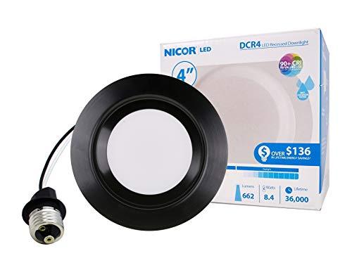 NICOR Lighting DCR41061203KBK LED Downlights, Black