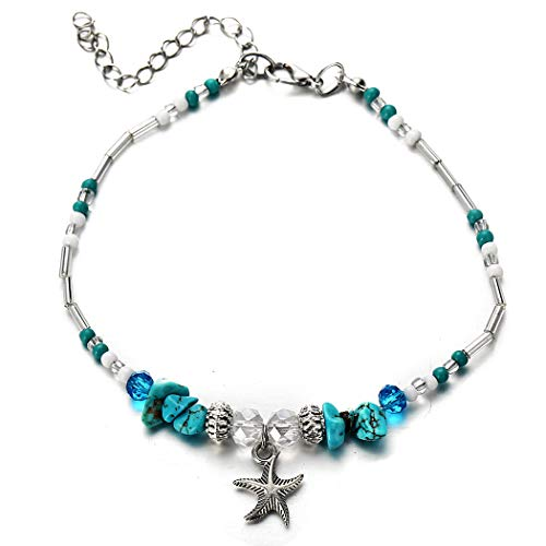 Starfish Turquoise Beads Anklet Bracelet Fashion Rhinestone Beach Foot Chain Barefoot Sandal Jewelry for Women and Girls