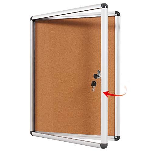 SwanSea cerrado tablero de anuncios Boletín de corchos caso a prueba de manipulaciones con tornillos de montaje de 98x72cm(9xA4)