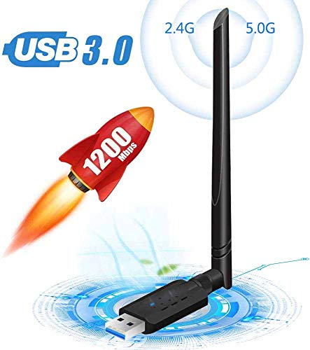 WLAN Stick WLAN Adapter PC WiFi Adapter USB 3.0 mit Thermisches Design für Windows/Mac OS/Linux/Desktop/Laptop/Notebook 1200Mbit/s Dualband (5 G/867Mbps 2.4G/300Mbps) 5dBi Antenne