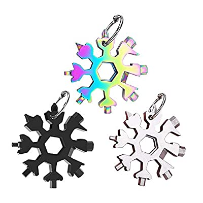 18-in-1 Snowflake Multi-Tool, Stainless Steel Snowflake Wrench, Portable Snowflake Tool Card Bottle Opener Snowflake Screwdriver for Christmas Gift