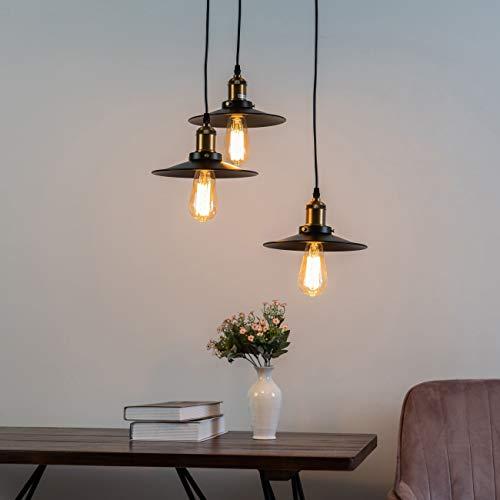 KOSILUM - Suspension Loft Vintage - Triple Scopa - Lumière Blanc Chaud Eclairage Salon Chambre Cuisine Couloir - 3 x 60W - - E27 - IP20