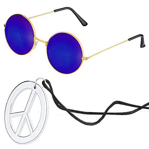 Beelittle Hippie accesorios de disfraces para hombres y mujeres - Retro John Lennon Hippie 60's Style Circle Glasses Signo de la paz collar (Azul)