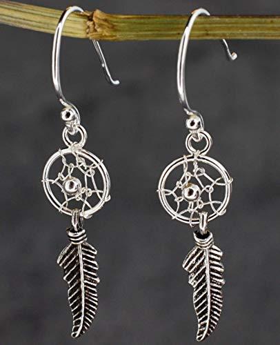 Ohrringe Traumfänger aus Silber - Hängend mit Feder - 925 Sterling - Ohrhänger Indianer