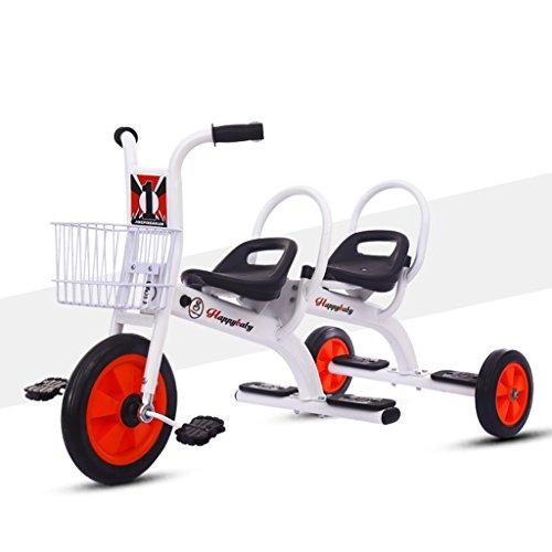 WLWWY Kinder Dreirad, Trike Fahrrad Griff Twin Sitze Für Baby Infant Kleinkind, Spielzeugautos, Zwillinge, Outdoor-Autos,White