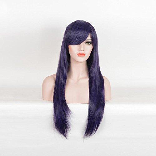 Longless Deep purple longue ligne droite perruque de cheveux