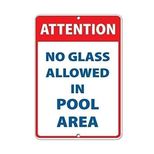 """Hinweisschild mit Aufschrift """"Attention No Glass Allowed in Pool Area"""", Aluminiumschild für Garage, einfache Montage, Innen- und Außenbereich, Metallschild, 20 x 30 cm"""