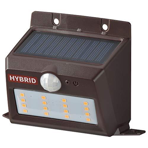 オーム電機 ハイブリッドセンサーウォールライト(400lm/ソーラー+乾電池/電球色LED/ブラウン) LS-SHB140PN4-T