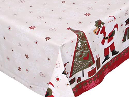 BEAUTEX Mantel de hule lavable, redondo, cuadrado, diseño de Navidad y tamaño a elegir (rectangular, 140 x 220 cm), diseño de Papá Noel