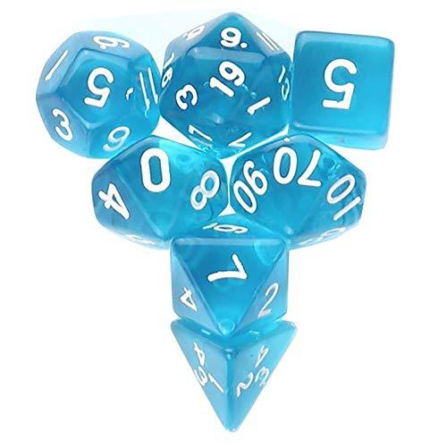 JenLn Juego de dados de números transparentes multifaces, aptos para el hogar y juegos móviles (3 juegos) dados de juego de rol (color: azul claro, tamaño: 15 mm)