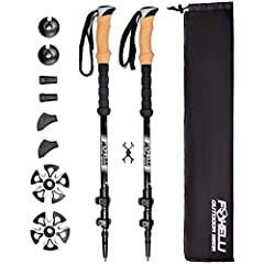 100% CARBON FIBER: Foxelli Trekking Poles (also known as Nordic walking poles or hiking sticks) are made from 100% carbon fiber material, which is known for its incredible lightness. Each pole weighs only 7.6 oz, allowing you to move quicker and fast...