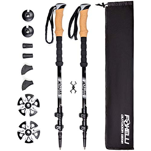 Foxelli Carbon Fiber Trekking Poles - Collapsible, Lightweight, Shock-Absorbent, Hiking, Walking & Running Sticks with Natural Cork Grips, Quick Locks, 4 Season/All Terrain Accessories and Carry Bag