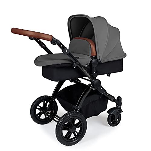 Ickle Bubba Stomp V3, All-in-one Travel System: Includes carrycot, Reversible Pushchair, Galaxy Group 0+ car seat with Isofix Base (Grey with Tan Handles, Black Chassis)
