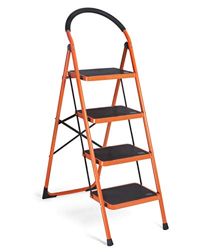 MECHREVO 4 Step Ladder, Sturdy Steel Folding Step Stool with Wide Anti-Slip Pedal and Large Convenient Handgrip, 330lbs Weight Capacity Portable Step Stool