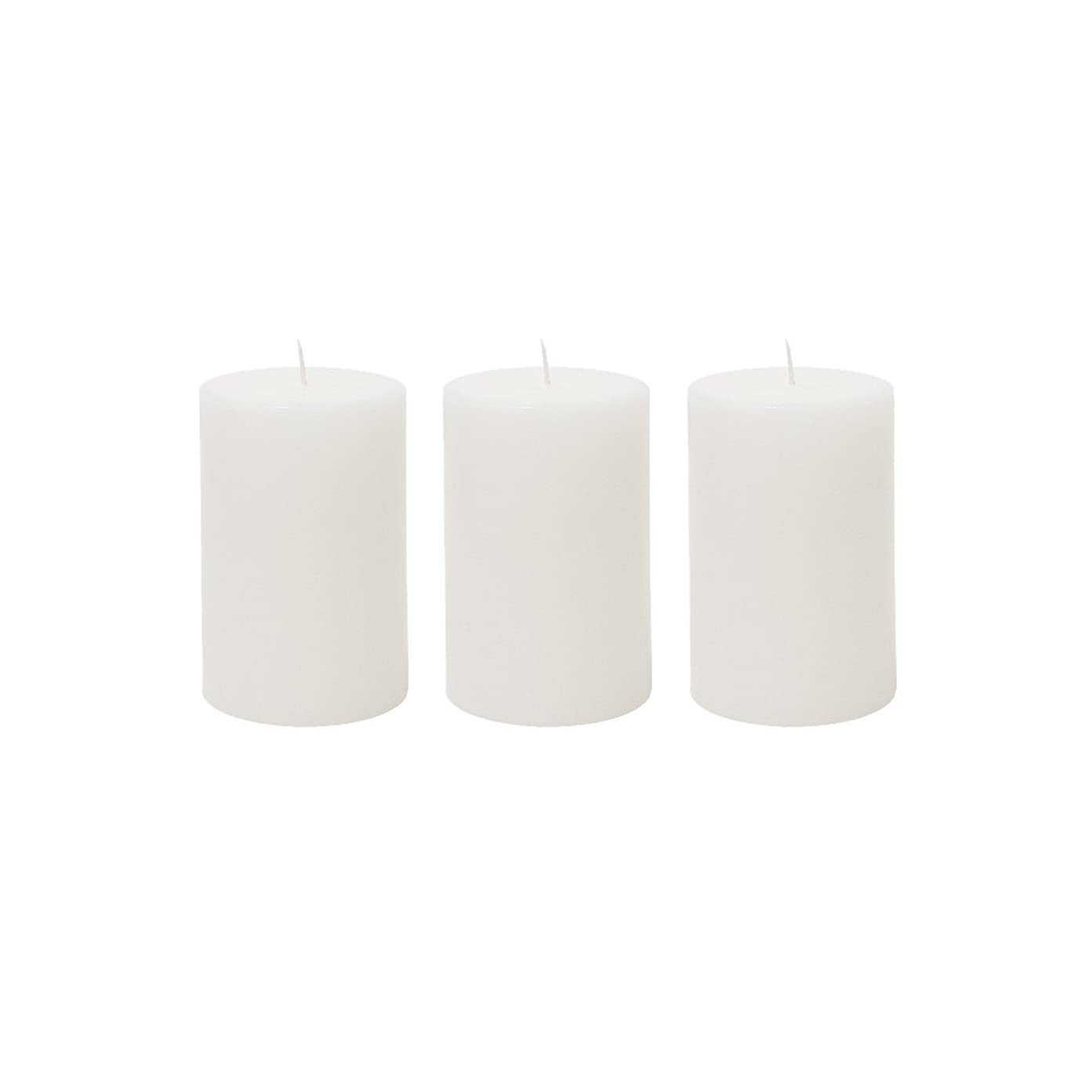 欲しいですぴかぴか病な(3, 5.1cm x 7.6cm Round) - Mega Candles 3 pcs Unscented White Round Pillar Candle Hand Poured Premium Wax Candles 5.1cm x 7.6cm For Home Decor, Wedding Receptions, Baby Showers, Birthdays, Celebrations, Party Favours & More