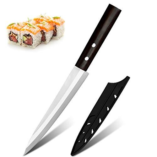 CUCHILLOS DE CHEF DAMASCO Patrón de Damasco Japonés Salmón Sushi Cuchillos de acero inoxidable Sashimi Cuchillo Capas de filete de pescado crudo Cuchillo de cocina (Color : Left)