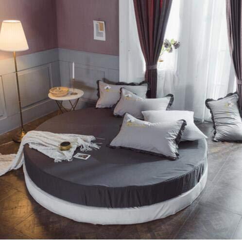 Mhtop Einfarbig 100% Baumwolle Runde Spannbetttuch Rundes Bettlaken Bettwäscheset...