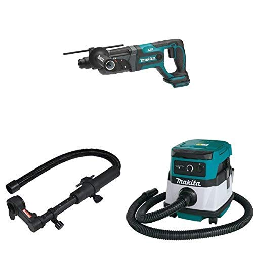 Makita XRH04Z 18V LXT 7/8-Inch Rotary Hammer (Tool Only), 193472-7 Dust Extraction Attachment, & XCV04Z 18V X2 LXT (36V) 2.1 Gallon HEPA Filter Dry Dust Extractor/Vacuum