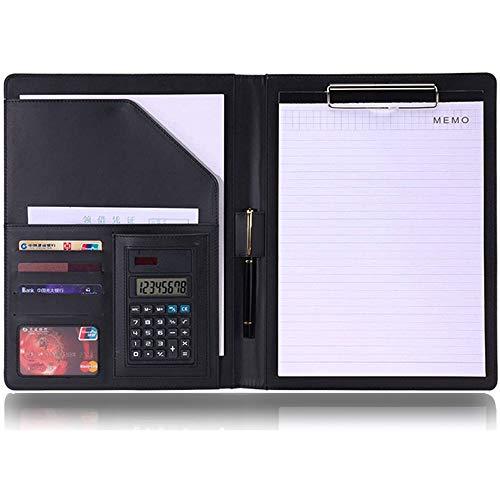Klemmbrettmappe mit Taschenrechner, Multifunktions PU Leder Schreibmappe A4 Klemmbrett Konferenzmappe Portfolio Dokumentenmappe mit Stifthalter und Kartenhalter