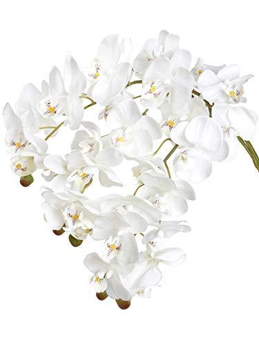 Famibay Künstlich Phalaenopsis Orchidee Blumen Echt Berühren 9 Köpfe Weiß Schmetterling Orchidee Blumen für Zuhause Dekoration 3 Stück