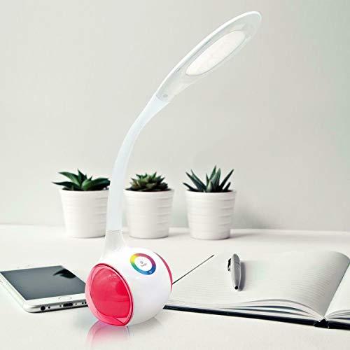 Platinet - Lámpara de escritorio LED de 5 W + lámpara de mesa/batería integrada de 2400 mAh – con función de cambio de color blanco