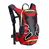 Fafalloagrron 15 Liter Fahrradrucksack mit Helmhalterung, Leichter Ski-Rucksack, kleine Fahrradrucksäcke für Outdoor-Wandern, Skifahren, Trekking, Camping, rot, 9.45 x 6.3 x 16.14''