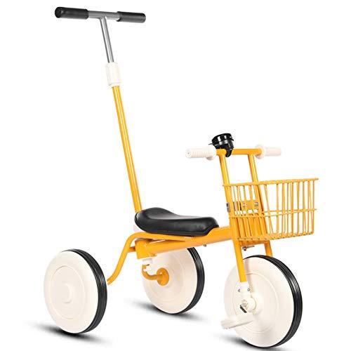 YWJPJ. Bicicleta de Balance de 3 Ruedas con Cesta, niños y niñas Classic Kids triciclos, Pedal removible y Barra de Empuje Padre, para 1-4 de Edad (Amarillo)