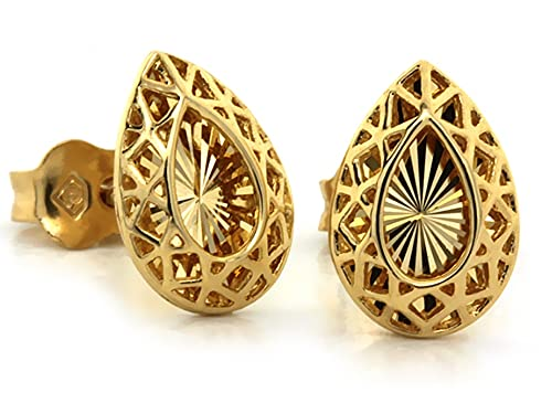 Pendientes de oro perforados con almendra para mujer.