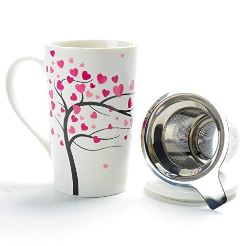 TEANAGOO M058-2 Taza de té de porcelana con colador y tapa, 510 ml, Love Tree, juego de teteras para el hogar con marcador de cerveza de acero para tazas de té, filtro de remojo