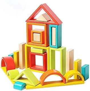 Agirlgle Large Wood Building Blocks Set for Toddlers Kids 32 Pcs Construction Building Toys Set Preschool Learning Educational Toys - Rainbow Stacker Wooden Blocks for Boys & Girls