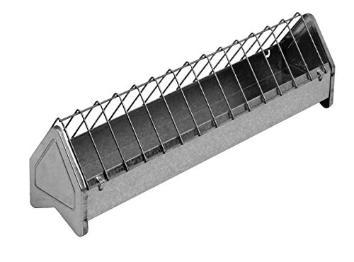 Little Giant Metal Poultry Trough Feeder (20 in) Galvanized Steel Poultry Trough Feeder with Grate (Item No. TR20GALV)