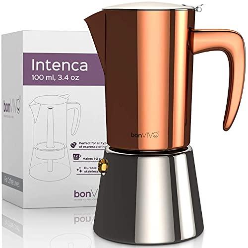 bonVIVO Intenca Espressokocher Induktion geeignet - Edelstahl Kaffeekocher in Kupfer-Optik m. Wasserkessel, Sieb – Mokkakanne 2, 4, 6 Tassen, 100-300ml