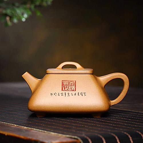 Tea Maker Pot Yixing Teapot Famous Handmade Square Stone Scoop Tea cup Old Section Of Mud Yixing Tea LYFTLKJ (Color : Old part mud)