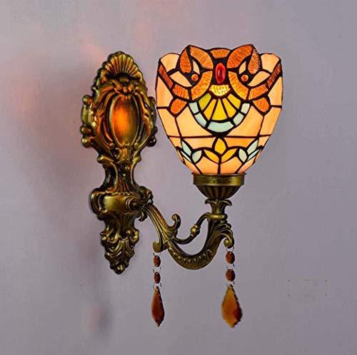 DXDUI Lámpara de Pared en Las Ventanas Apliques de Estilo Tiffany 6 Pulgadas, lámpara de cabecera del Dormitorio como un Espejo en Forma de E27,110V 220V Aplicaciones barroca,Ein