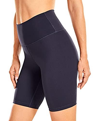 CRZ YOGA Mujer Shorts Deportivos Cintura Alta Leggings de Yoga Sentimiento Desnudo - 20cm Azul Marino 40