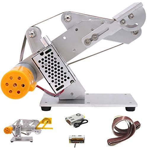 Huanyu Bandschleifer Mikro Bandschleifmaschine DIY Mini Schleifmaschine Elektrische Desktop Poliermaschine mit 6 Stück von 20/30 * 533mm Schleifbänder (30mm, 360W Adapter)