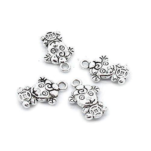 110 piezas de plata envejecida joyería encantos artesanía artesanía artesanía artesanía rebordear suministros R5KT9U Zodiac Get Rich Cordero Ovejas