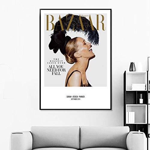 zszy Sarah Jessica beroemd model muurkunst canvas schilderij Nordic poster en Pop Art Magazine wandschilderijen voor woonkamer salon 50x70cmx1 stuk geen lijst