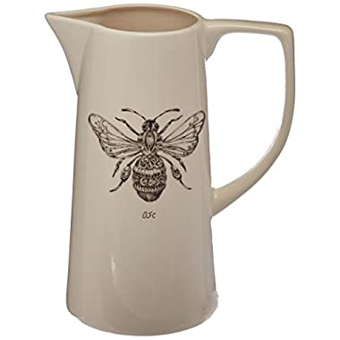 Creative Co-Op DA6088 White Ceramic Pitcher with Bee Image