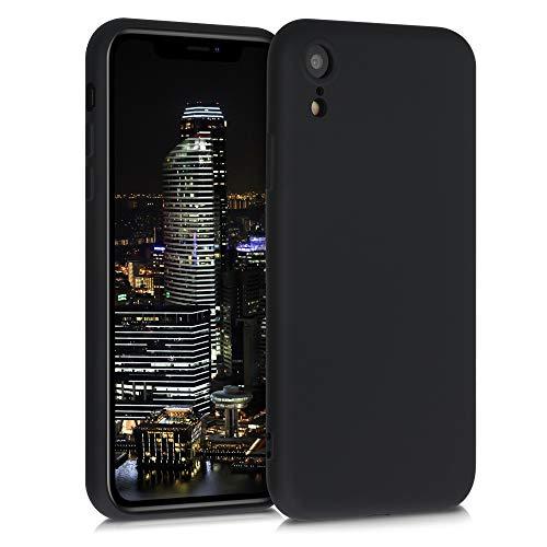 kwmobile Cover Compatibile con Apple iPhone XR - Custodia in Silicone Effetto Gommato - Cover Back Case Protezione Cellulare - Nero Matt