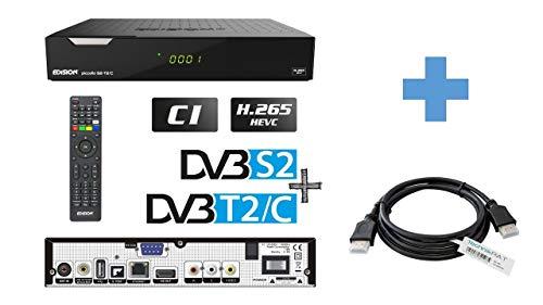 EDISION PICCOLLO 3in1 HEVC Full HD Combo Receiver mit DVB-S2 & DVB-C/T2 H.265/HEVC inkl. TechnikRAT HDMI-Kabel 1,5 m CI-Schacht Conax-Kartenleser 2 x USB, HDMI, LAN