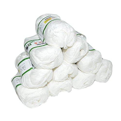 Mangocore 500g 10Pcs Soft Smooth Natural Bamboo Cotton Hand Knitting Yarn Baby Cotton Yarn Knitted By 2.25mm Needles (white)