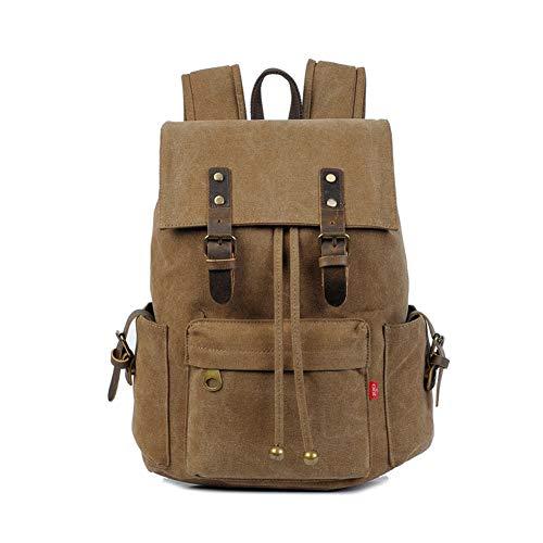 GUMU Vintage Lona Mochila De Bandolera La Bolsa Hombro Messenger Bag Laptop Backpack Mochilas Sport para Hombres Mujer,Coffee