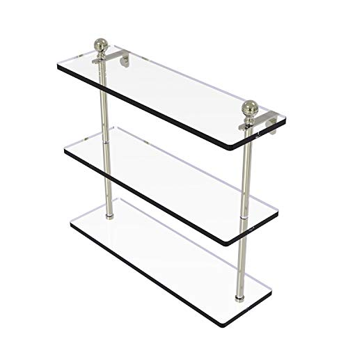 Allied Brass MA-5/16 Mambo Collection 16 Inch Triple Tiered Glass Shelf, Polished Nickel